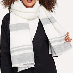 Striped Fringe Hem Scarf