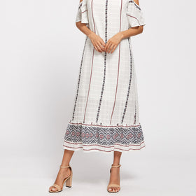 Tribal Print Open Shoulder Tiered Hem Dress