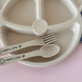 3 Compartment Plate 1pc & Spoon 1pc & Fork 1pc