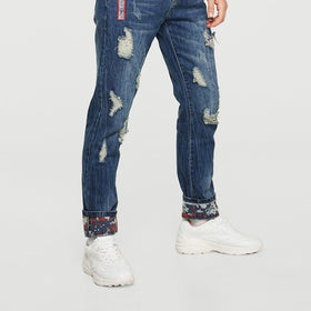 Men Tape Detail Destroyed Rolled Hem Jeans