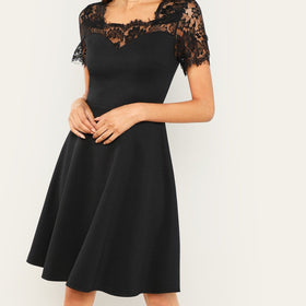 Eyelash Lace Yoke Fit & Flare Dress