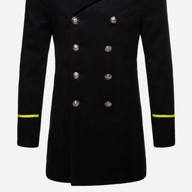 Men Double Breasted Contrast Tape Coat