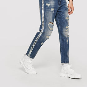 Men Tape Detail Rolled Hem Destroyed Jeans