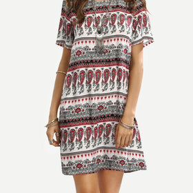 Colorful Tribal Print Loose Dress