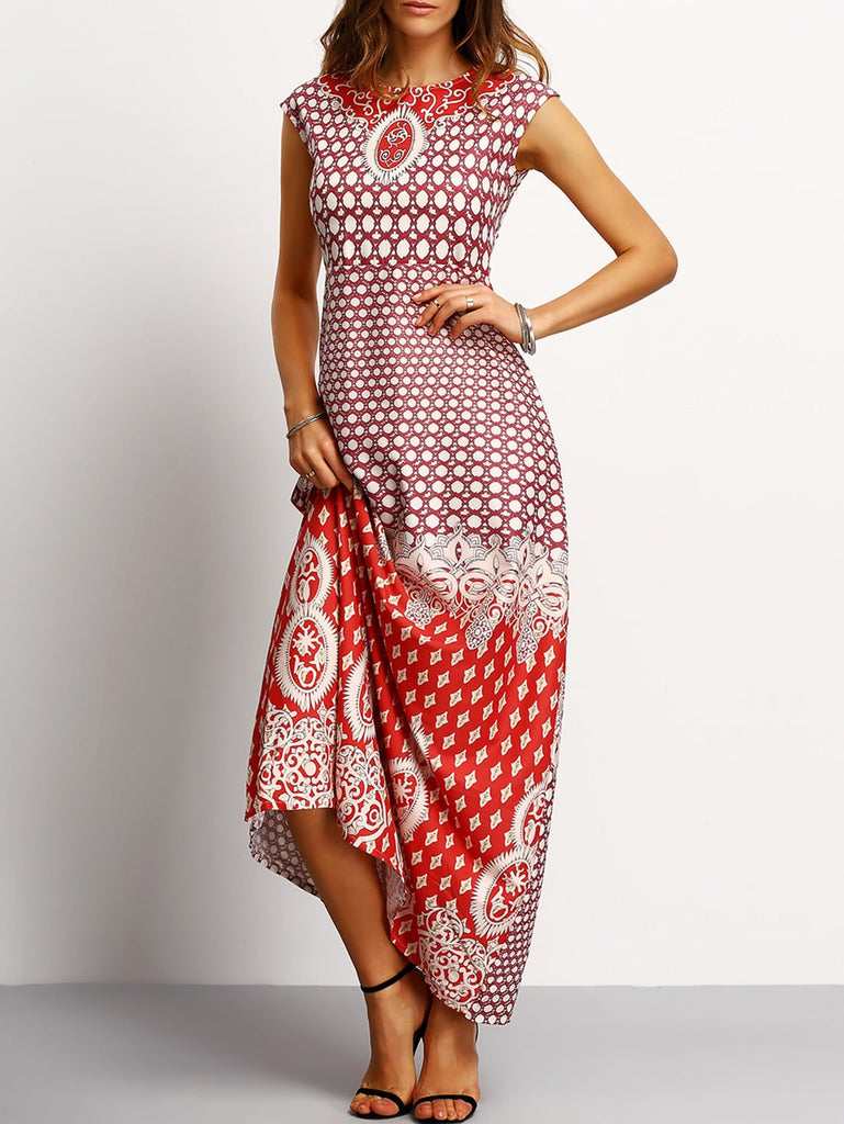 Tribal Print Sleeveless Maxi Dress