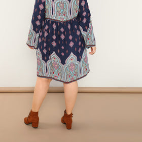 Plus Tie Neck Ornate Print Dress