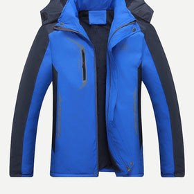 Men Color Block Hooded Outerwear