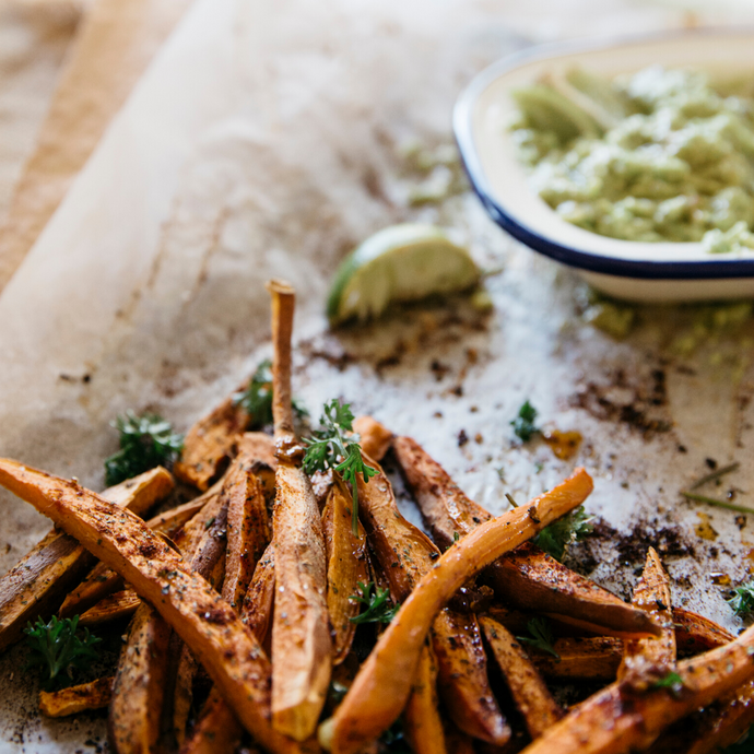 Sweet Potatoes Fries and Moringa Guacamole
