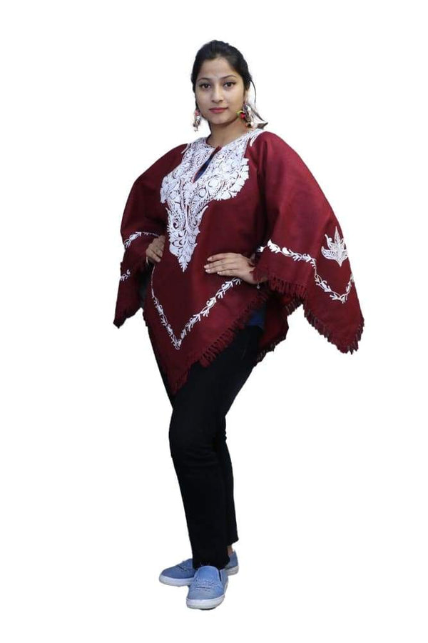 Abondon Maroon Kashmiri Aari Work Embroidered Poncho