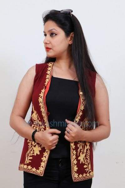 Attractive Maroon Colour Waist Coat With Kashmiri Embroidery