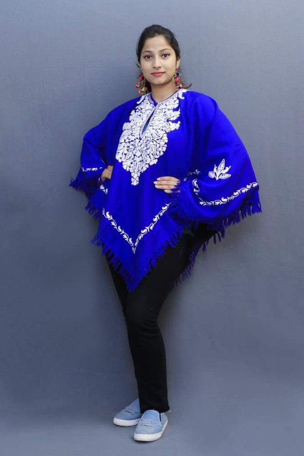 Attractive Royal Blue Colour Ponchu With Elegant Kashmiri
