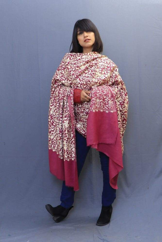 With The Base Of Mejenta This Pastel Colour Rich Jaal Gives