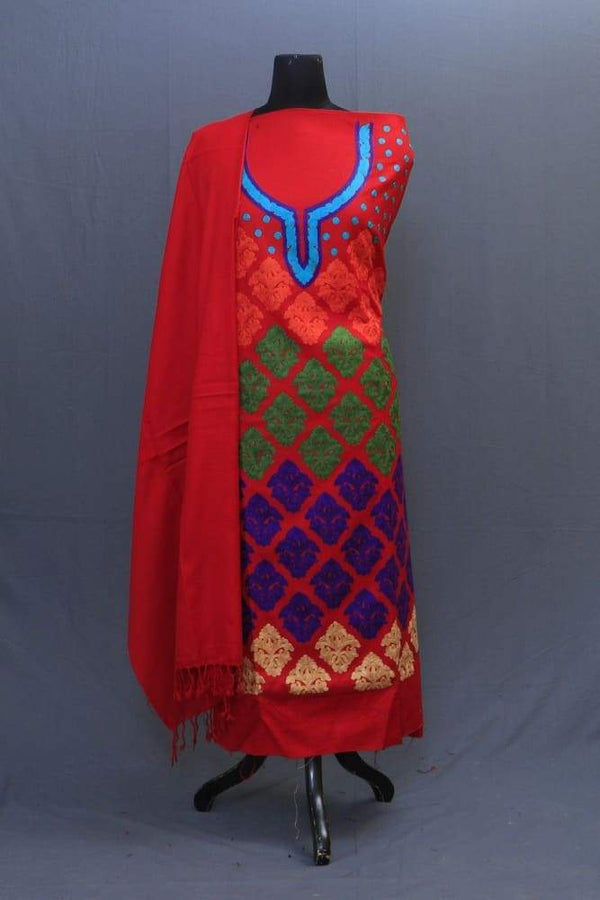 With The Base Of Red Colour These Allover Multicolour Motifs