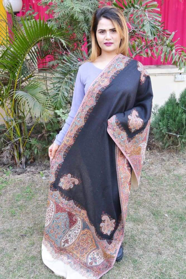 Beige And Black Color Kashmiri Kani Work Stole