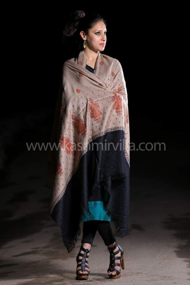 Beige Black Colour Shawl Enriched With Designer Jaal Pattern