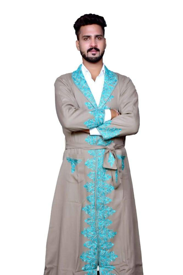 Beige Color Kashmiri Embroidered Woolen Men's Gown / Robe