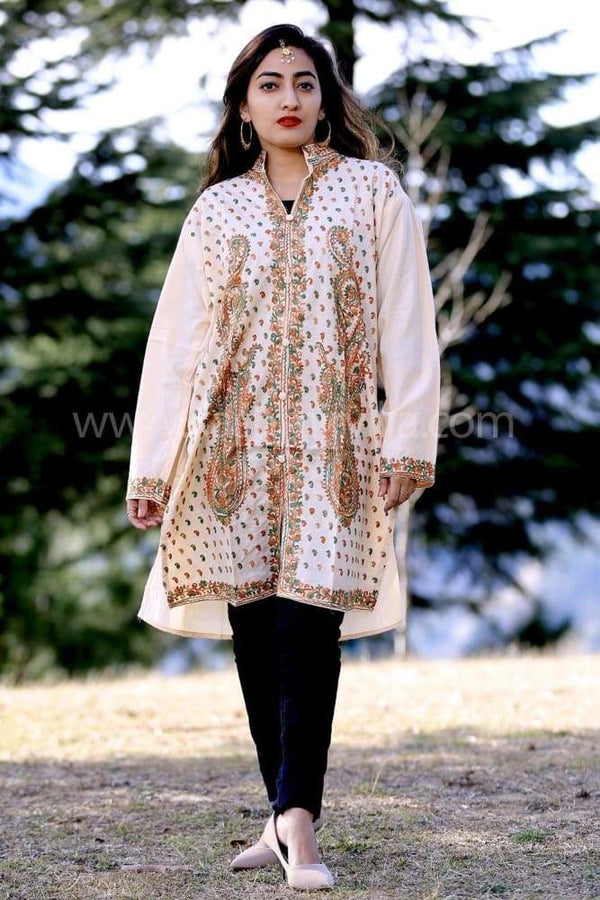 Beige Colour Kashmiri Work Embroidered Kurti Enriched With