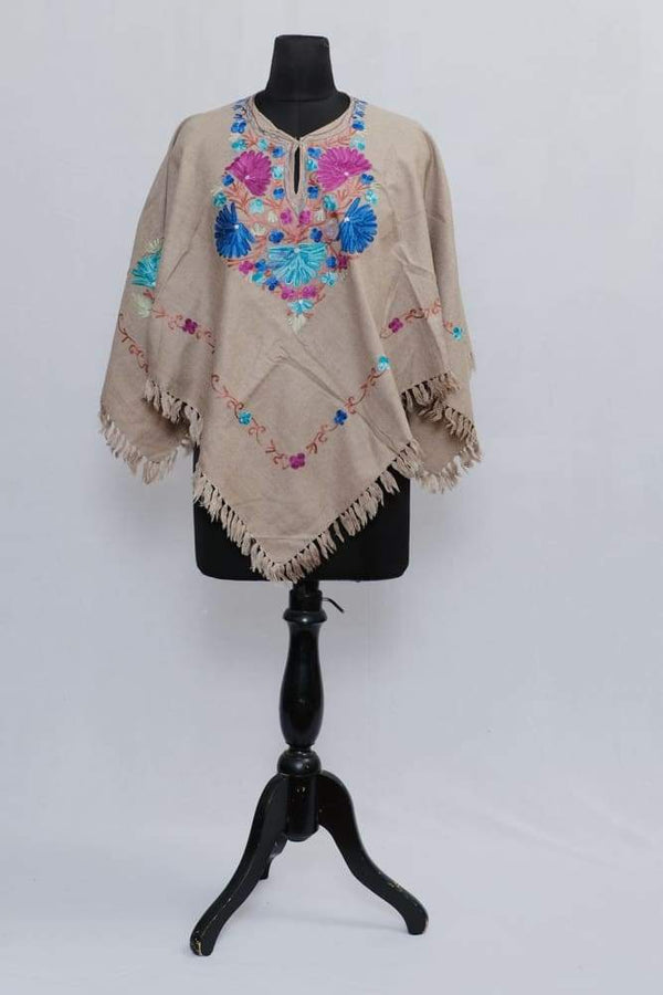 Beige Colour Ponchu With Elegant Kashmiri Embroidery.