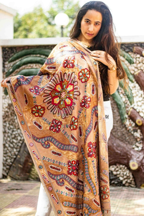 Beige Colour Stole With Kashmiri Embroidery Compliments The