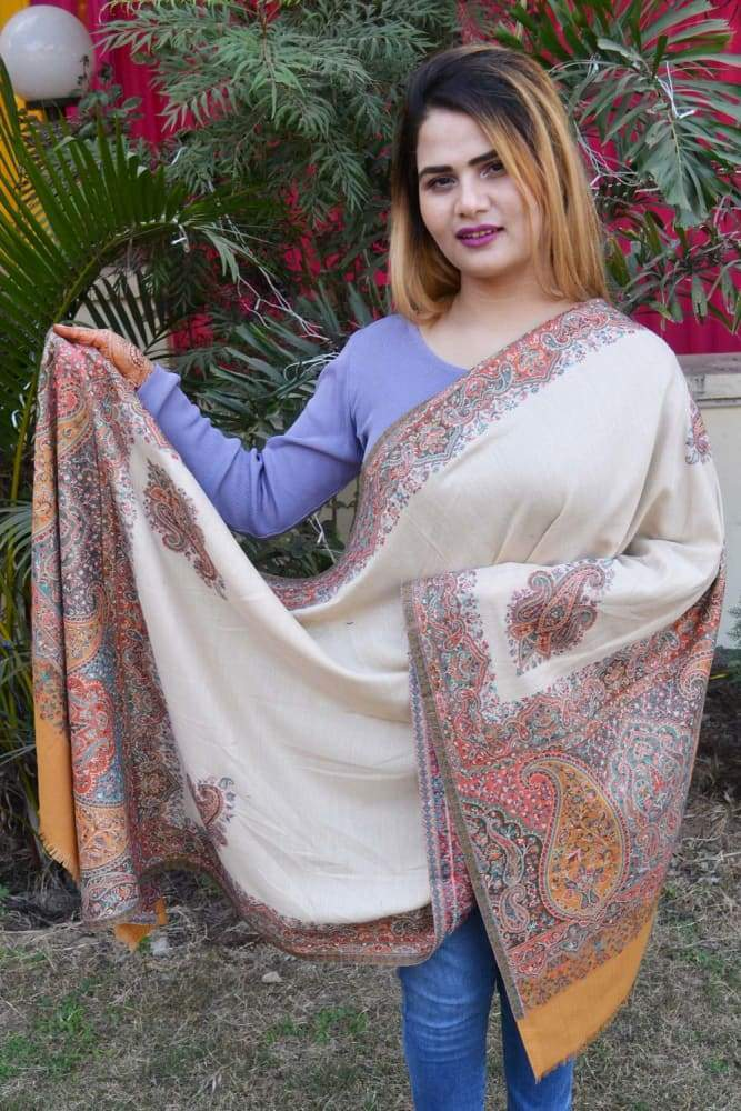 Beige And Mustard Color Kashmiri Kani Work Stole