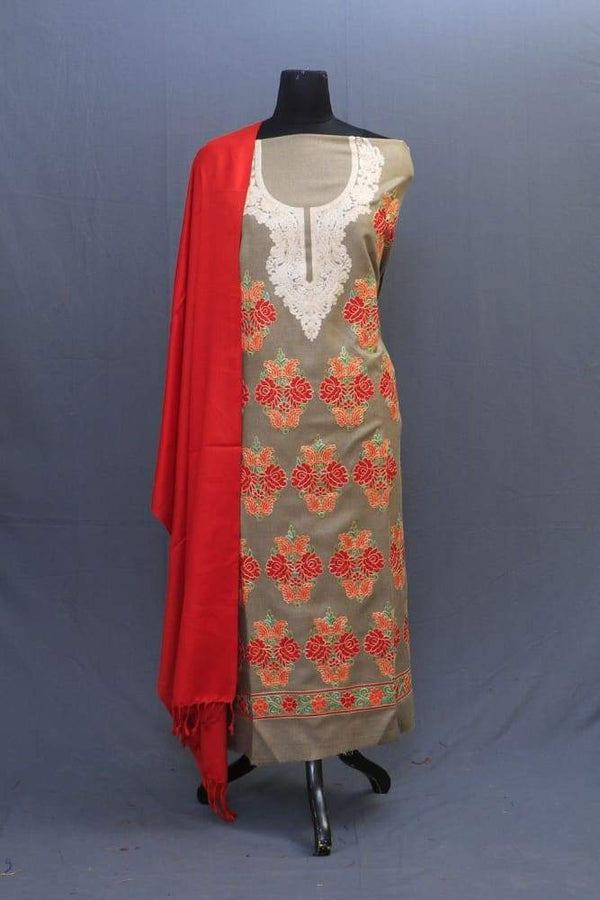 Beige And Tomato Red Colour Woolen Suit With Bold Aari
