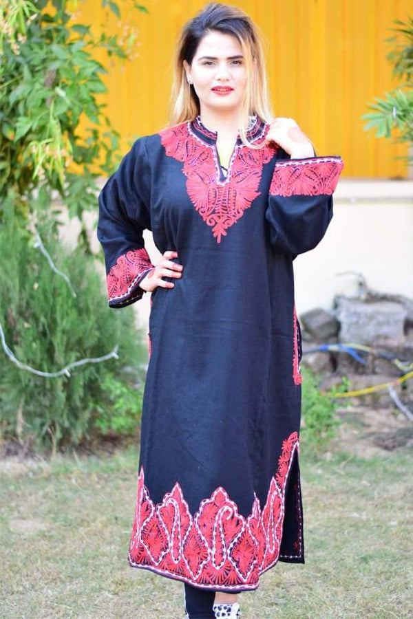 Black Color Aari Work Embroidered Phiran Enriched Designer Neckline Pattern Kashmiri Phirans kashmirvilla.