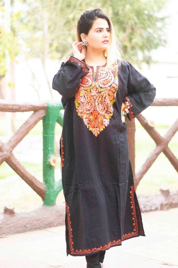 Black Color Kashmiri Work Embroidered Phiran Enriched