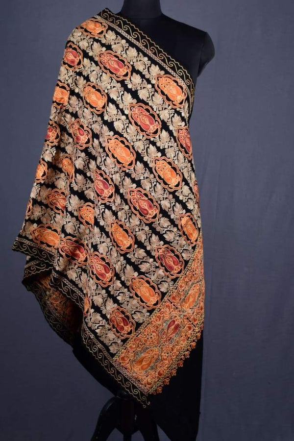 Black Color Kashmiri Work Embroidered Stole Enriched With