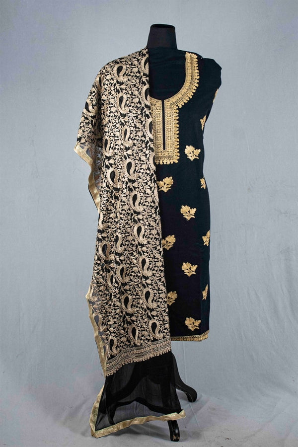 Black Color Silk Cotton Kashmiri Embroidered Designer Suit