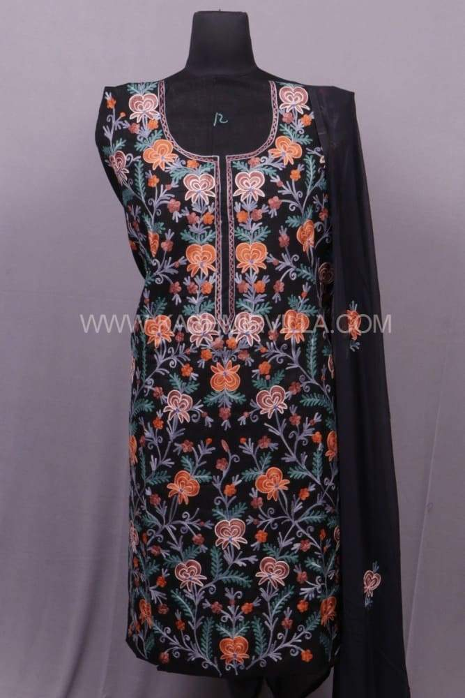 Black Colour Cotton Suit With Over All Kashmiri Jaal Highly