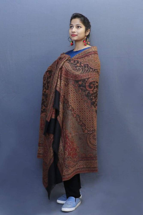 Black Colour Jamawar Shawl With Highly Defined Borders And