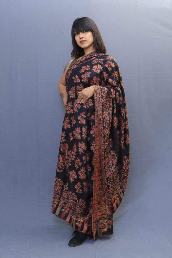 Black Colour Kani Shawl With All Over Bold And Dense Motifs