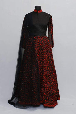 Black Colour Kashmiri Embroidered Skirt With Crop Top And
