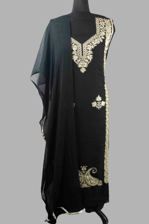 Black Colour Kashmiri Tilla Aari Work Salwar Kameez