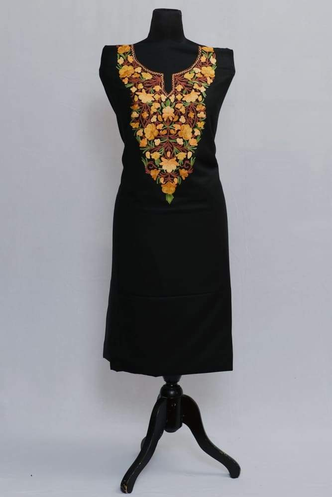 Black Colour Salwar Kameez Floral Pattern With Matching