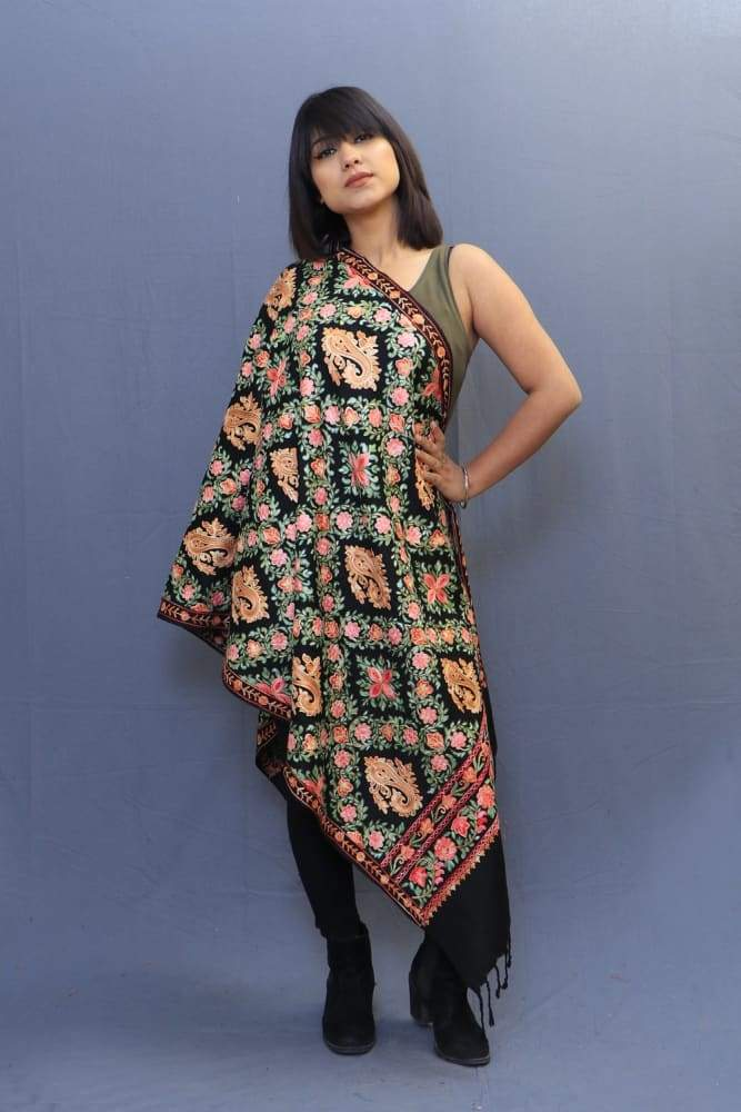Black Colour Stole With Kashmiri Embroidery Compliments The