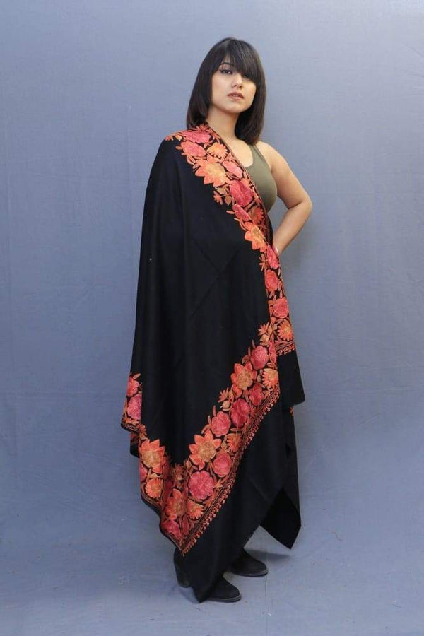 Black Colour Stole With Kashmiri Four Sided Border Add