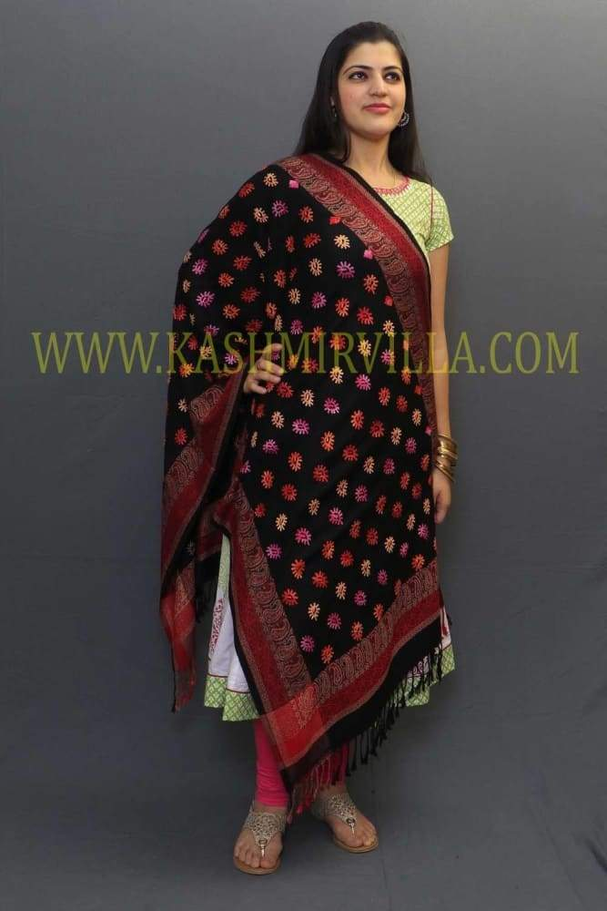 Black Colour Wrap With Multicoloured Motifs And Highly