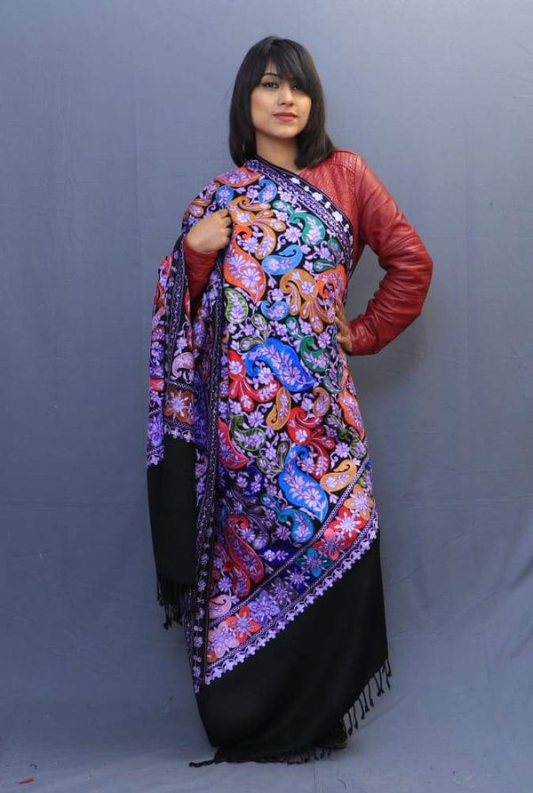Black Colour Wrap With Richly Designed Aari Jaal And Highly