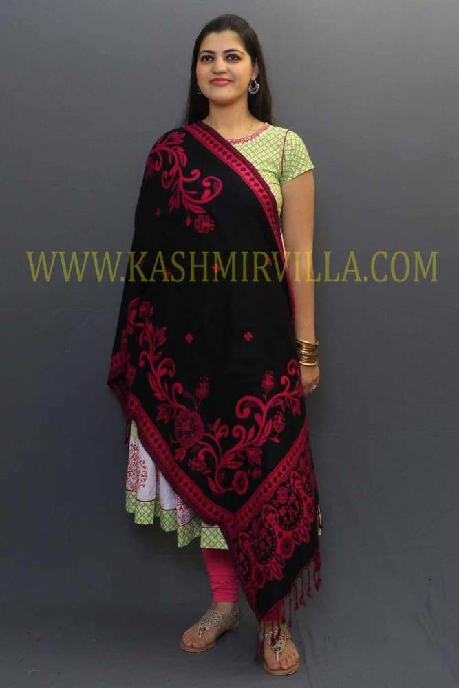 Black And Majenta Colour Reversible Stole Specially Designed