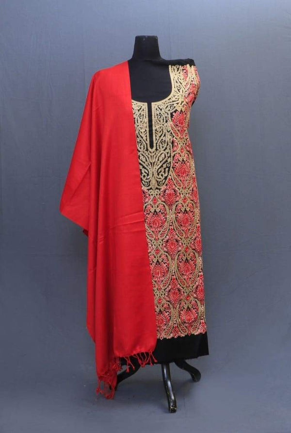 Black And Red Colour Suit Having AllOver Dense Embroiderd