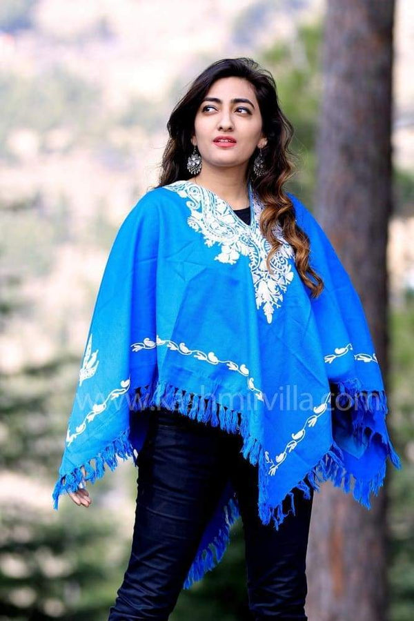 Blue Color Kashmiri Aari Work Embroidered Poncho Enriched