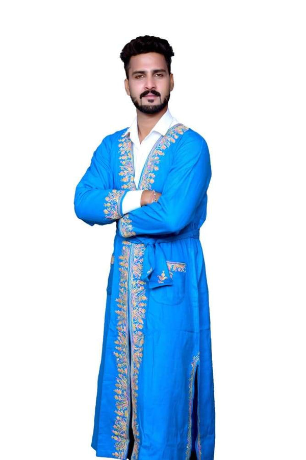 Blue Color Kashmiri Embroidered Woolen Men's Gown / Robe