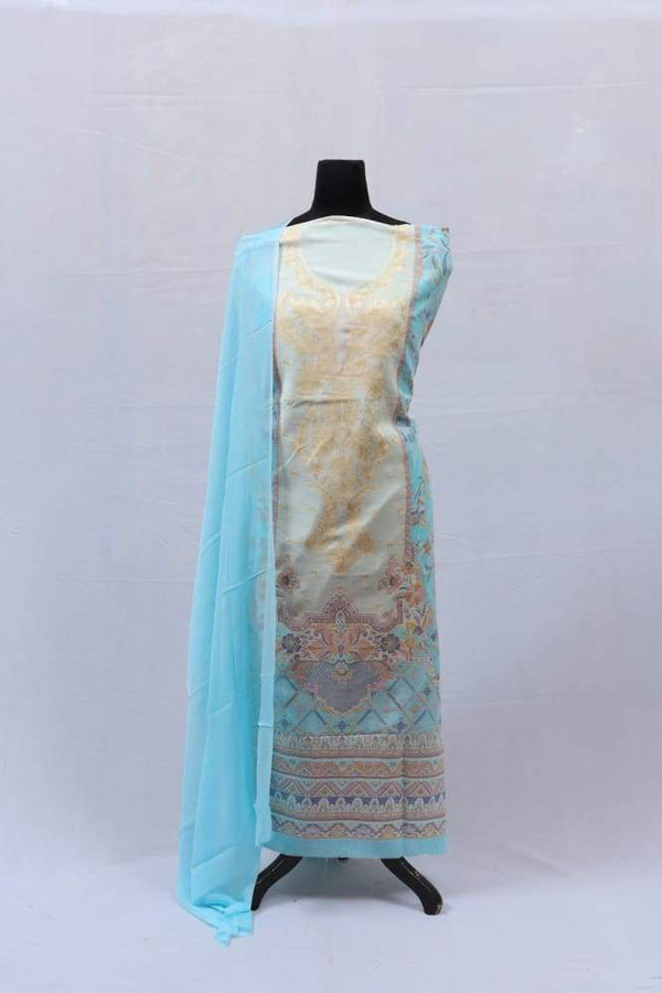 Blue Colour Cotton Kani Suit With Self Woven Embroidery