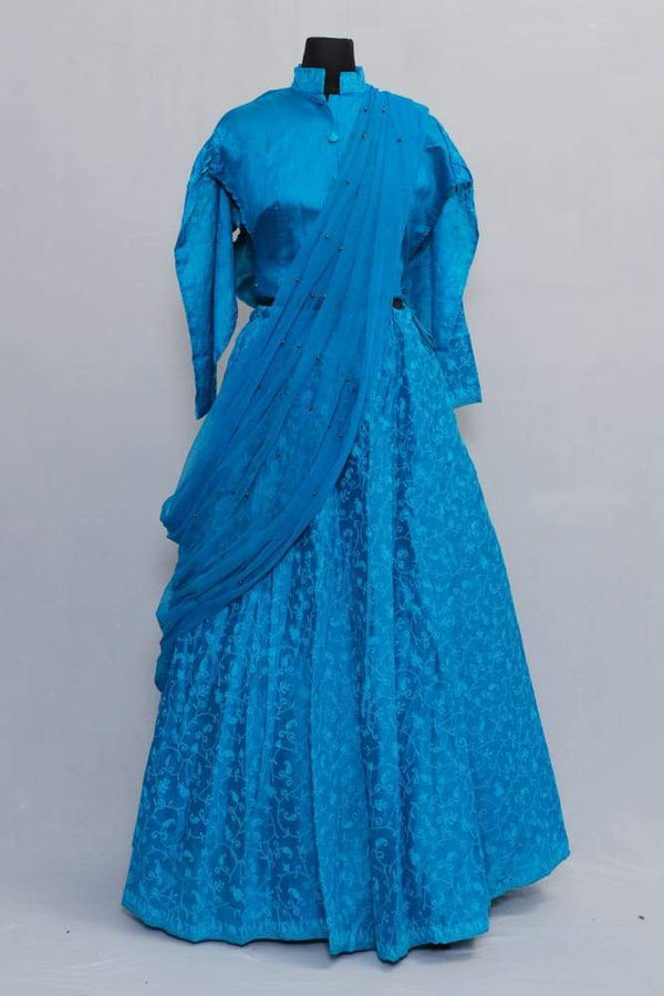 Blue Colour Kashmiri Embroidered Skirt With Crop Top And