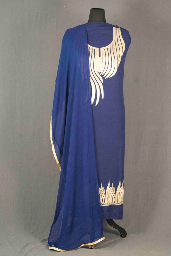 Blue Colour Kashmiri Tilla Aari Work Salwar Kameez Exclusive