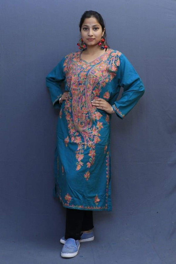 Bluish Green Colour Cotton Kurti With Fine Woven Kashmiri