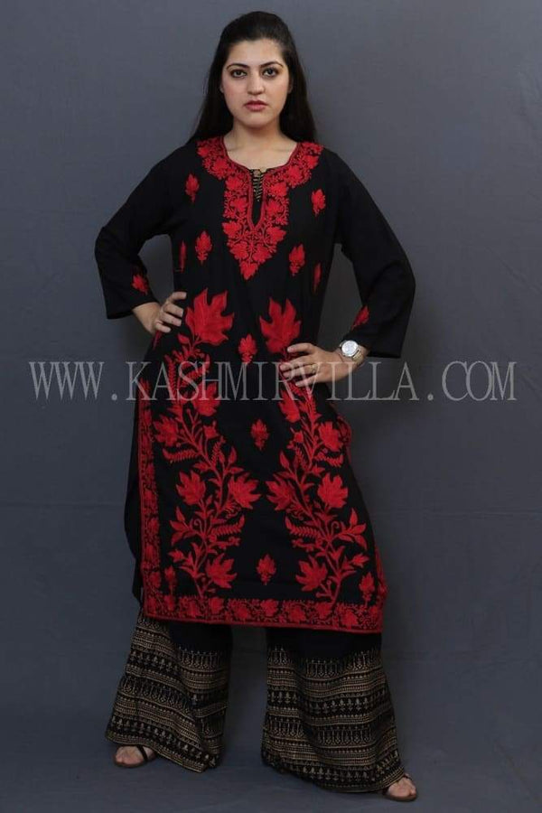 Bold Black Colour Cotton Kurti With Beautiful Aari