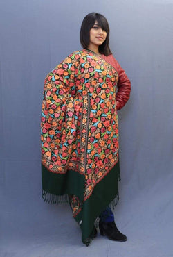 Bottle Green Color Kashmiri Work Embroidered Shawl Enriched