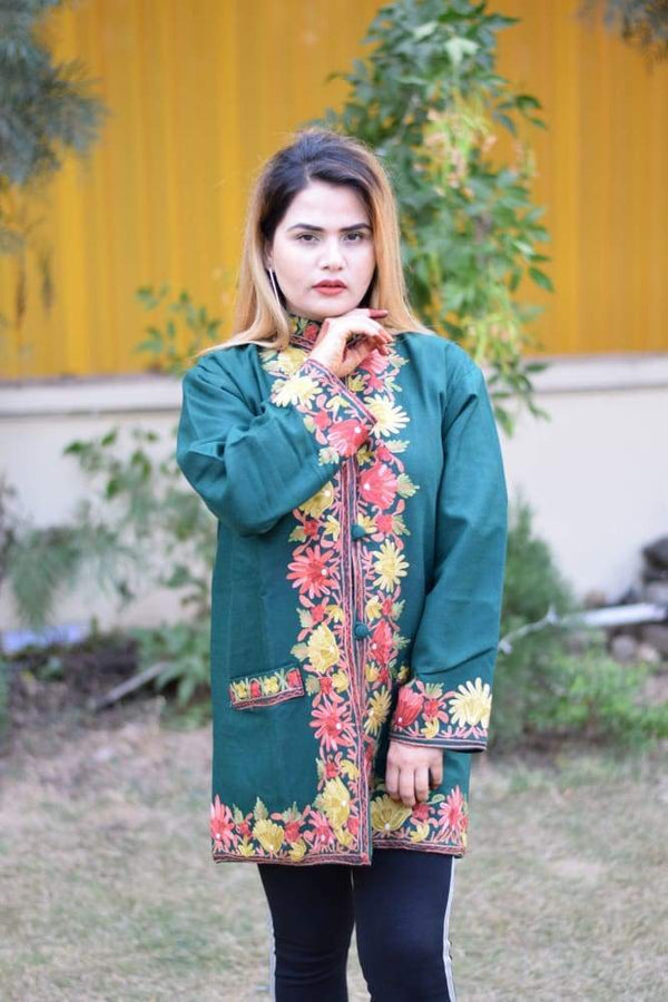 Bottle Green Colour Aari Work Embroidered Jacket With New
